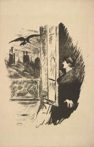 PML 140626, Raven. French, illustration of Man at window with raven, Le corbeau = The raven : poeÌme / par Edgar Poe ; traduction française de SteÌphane MallarmeÌ ; avec illustrations par Edouard Manet, Paris : Richard Lesclide, 1875.